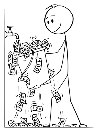 Vector cartoon stick figure drawing conceptual illustration of man or businessman turning the water faucet or tap on and catching bills falling in to bucket.
