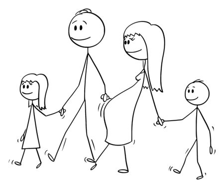 Vector cartoon stick figure drawing conceptual illustration of family of man and pregnant woman walking together and holding hands with two children, boy and girl.