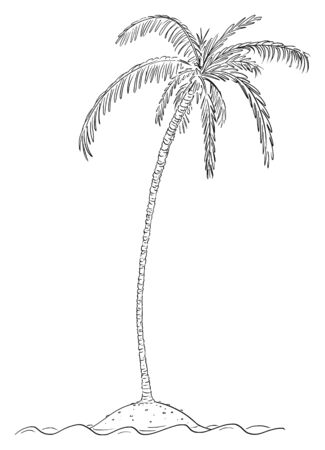 Vector cartoon illustration or drawing of palm tree growing on small island in center of ocean.