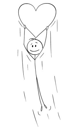 Vector cartoon stick figure drawing conceptual illustration of man in love holding big flying inflatable heart balloon.