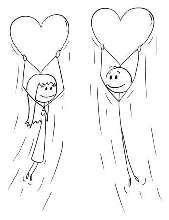 Vector cartoon stick figure drawing conceptual illustration of couple of woman and man in love holding big inflatable heart balloon and flying together.