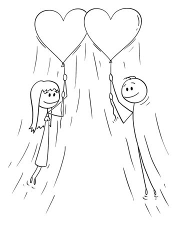 Vector cartoon stick figure drawing conceptual illustration of couple of woman and man in love holding rope of big inflatable heart balloon and flying together.