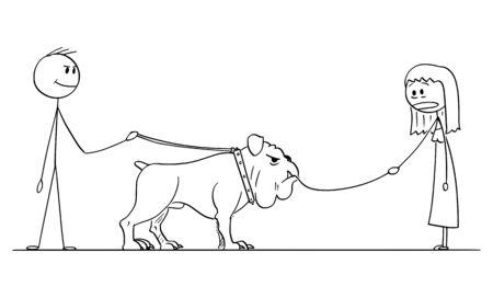 Vector cartoon stick figura disegno illustrazione concettuale dell'uomo con il grosso cane al guinzaglio che mangiano o divorano un piccolo cane guidato da donna.