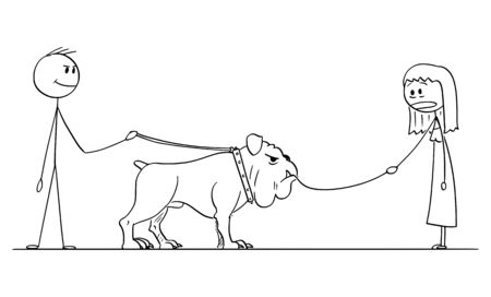 Vector cartoon stick figure drawing conceptual illustration of man with big dog on leash who eat or devour small dog leaded by woman.
