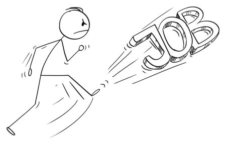 Vector cartoon stick figure drawing conceptual illustration of angry man kicking out the job text or font. Leaving job concept. Иллюстрация