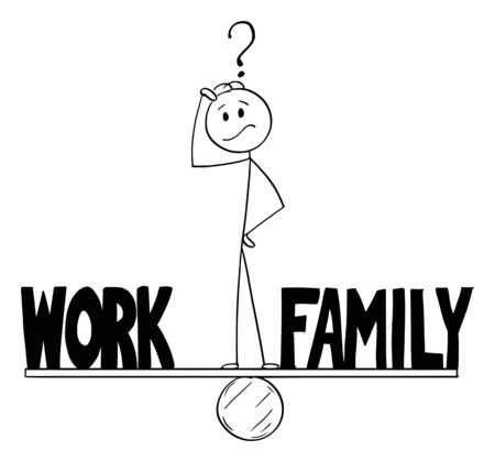 Vector cartoon stick figure drawing conceptual illustration of man or businessman thinking and standing on seesaw and balancing time between work and family.