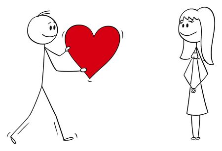 Vector cartoon stick figure drawing conceptual illustration of man or boy giving bog romantic red heart to girl or woman on date. Declaration or confession of love. 일러스트