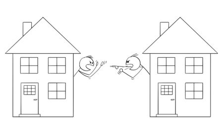 Vector cartoon stick figure drawing conceptual illustration of two men or neighbors looking from window of family houses and arguing or having fight.