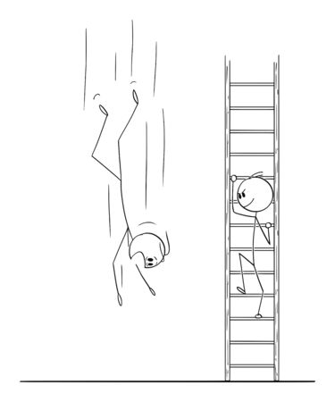 Vector cartoon stick figure drawing conceptual illustration of man or businessman climbing up the ladder while competitor is falling down to ground.