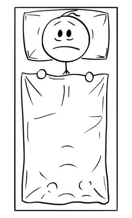 Vector cartoon stick figure drawing conceptual illustration of man with problem lying alone in bed in bedroom and thinking. Depression or insomnia concept.