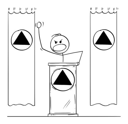 Vector cartoon stick figure drawing conceptual illustration of rude aggressive man or dictator speaking or having speech to public or followers on podium or behind lectern. Flags and symbols are around.