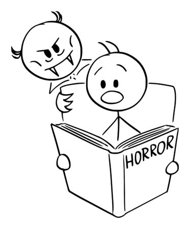 Vector cartoon stick figure drawing conceptual illustration of frightened man reading scary horror book and vampire is looking over his shoulder. Illustration