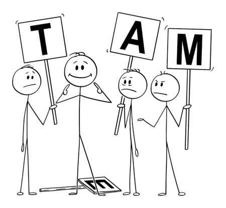 Vector cartoon stick figure drawing conceptual illustration of man or businessman pointing on yourself as the best part of the team. Business concept of arrogance, individuality and egoism. Vectores