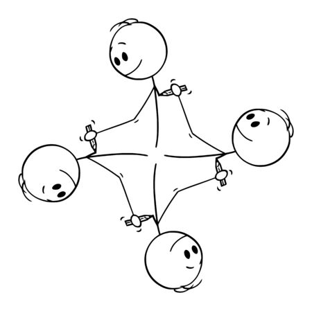 Vector cartoon stick figure drawing conceptual illustration of circular element of four men drawing each other with pencil creating endless circle.