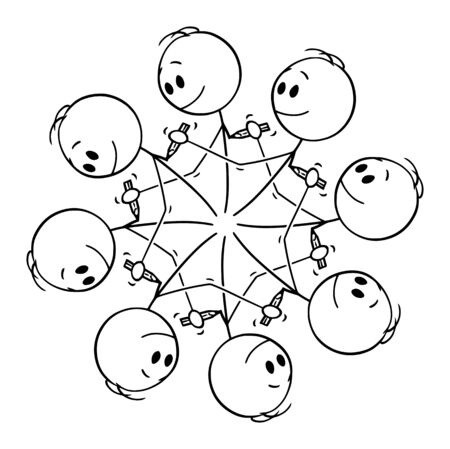Vector cartoon stick figure drawing conceptual illustration of circular element of eight men drawing each other with pencil creating endless circle.