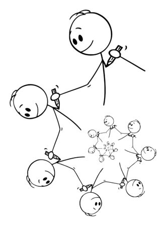 Vector cartoon stick figure drawing conceptual illustration of fractal element of men or artists drawing each other with pencil creating endless spiral design element.