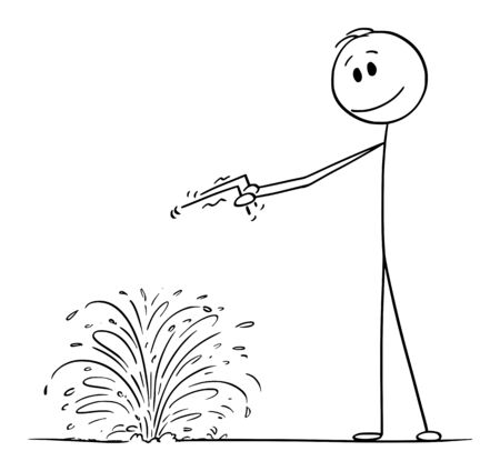 Vector cartoon stick figure drawing conceptual illustration of diviner or dowser searching for water in ground.