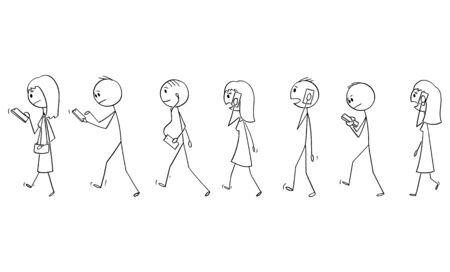 Vector cartoon stick figure drawing conceptual illustration of set of group of people or pedestrians walking on the street and using mobile phones or cell phones.