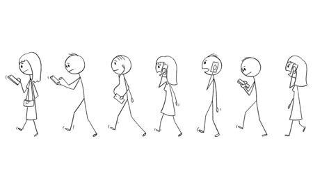 Vector de dibujos animados figura de palo dibujo ilustración conceptual del conjunto de grupo de personas o peatones caminando en la calle y usando teléfonos móviles o teléfonos celulares. Ilustración de vector