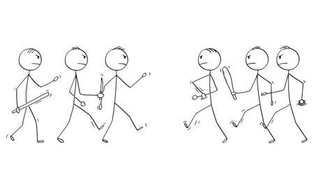 Vector de dibujos animados figura de palo dibujo ilustración conceptual de dos grupos de hombres o empresarios, que van a pelear o pelear con armas de mano como cuchillo o vara.