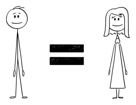 Vector cartoon stick figura disegno illustrazione concettuale dell'uomo e della donna e segno di uguale tra di loro. Concetto di uguaglianza di genere. Vettoriali