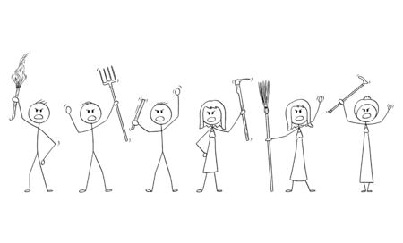 Vektor-Cartoon-Strichmännchen zeichnen konzeptionelle Darstellung von wütenden Mob-Charakteren mit Fackel und Werkzeugen wie Heugabel als Waffen.