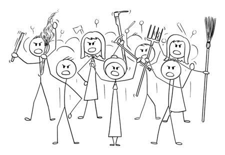 Vector cartoon stick figure dessin illustration conceptuelle de personnages de foule en colère avec torche et outils comme la fourche comme armes.