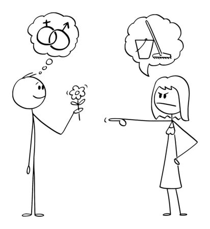 Vector cartoon stick figure drawing conceptual illustration of man holding flower and hoping in romantic sexual intercourse, but woman is sending him to wipe the floor instead. Иллюстрация