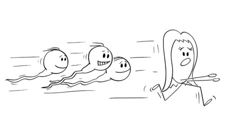 Vector cartoon stick figure drawing conceptual illustration of group of human sperm cells or spermatozoon chasing ovum or egg to fertilize it.