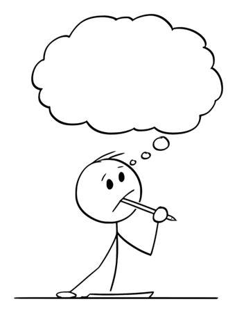 Vector cartoon stick figure dessin illustration conceptuelle d'un homme créatif ou d'un homme d'affaires ou d'un écrivain pensant à quelque chose, avec un stylo à bille dans la bouche et un morceau de papier sur la table.