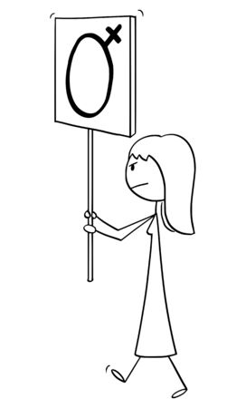 Vector cartoon stick figure drawing conceptual illustration of woman or feminist walking or manifesting with female gender symbol on sign.