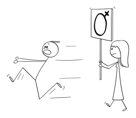 Vector cartoon stick figure drawing conceptual illustration of woman or feminist walking or manifesting with female gender symbol on sign. Man is running away in panic.