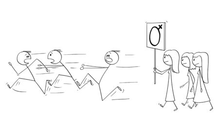 Vector cartoon stick figure drawing conceptual illustration of group of feminist women walking or manifesting with female gender symbol on sign. Men are running away in panic.