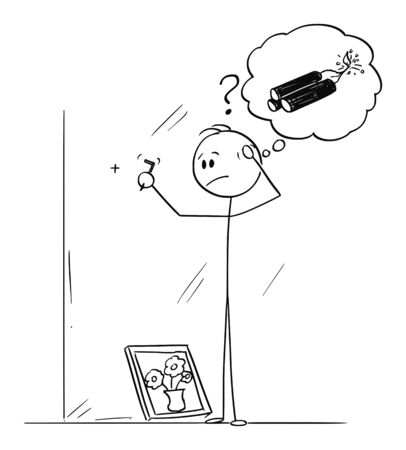 Vector cartoon stick figure drawing conceptual illustration of clumsy or awkward man thinking about explosives, when trying to figure how to hammer a hook for framed painting.