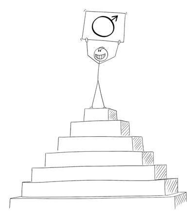 Vector cartoon stick figure drawing conceptual illustration of successful man celebrating success on the peak of the pyramid with male gender or sex symbol in hands.