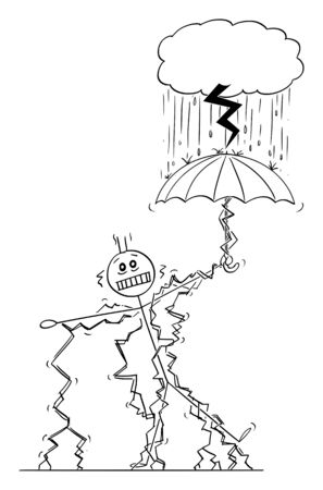 Vector cartoon stick figure drawing conceptual illustration of man or businessman struck by lightning, when standing in rain safe under umbrella under small storm cloud.