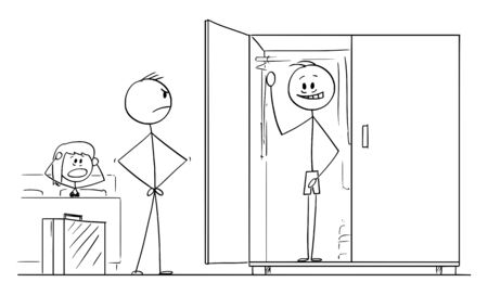 Vector cartoon stick figure drawing conceptual illustration of husband returning home and found lover of his wife hidden in wardrobe or closet. Concept of infidelity and adultery. Stock Illustratie