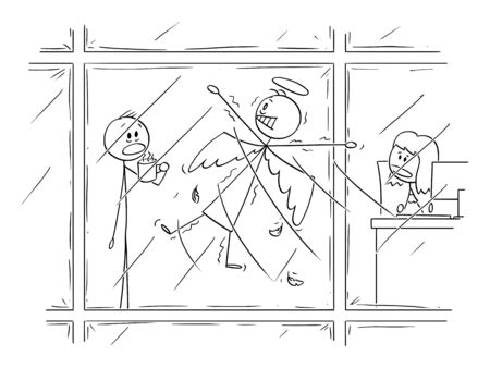 Vector cartoon stick figure drawing conceptual illustration of flying angel who crush into office or commercial high rise building window. Workers are watching him shocked.