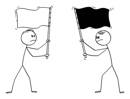 Vector cartoon stick figure drawing conceptual illustration of two angry men, politicians or businessmen holding different flags. Concept of competition and hostility.