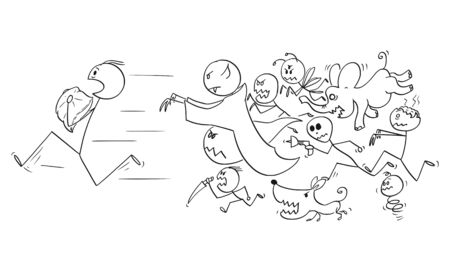 Vector cartoon stick figure drawing conceptual illustration of man holding a pillow running away chasing by his nightmares and dream monsters. Stock Illustratie