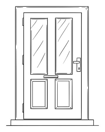 Vector pen and ink drawing of family house or door with small windows. Stock Illustratie