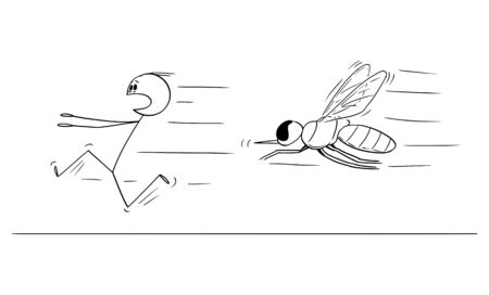 Vector cartoon stick figure drawing conceptual illustration of man running away in fear from mosquito or insect.
