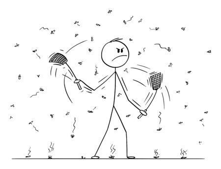 Vector cartoon stick figure drawing conceptual illustration of man or businessman with swatters, flappers or fly-flaps in both hands killing flies, mosquitoes or just insect flying around. Stock Illustratie