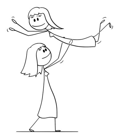 Vector cartoon stick figure drawing conceptual illustration of homosexual lesbian couple of two women performing dance pose lift during dancing.