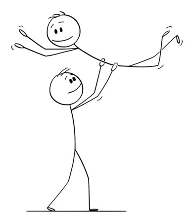 Vector cartoon stick figure drawing conceptual illustration of homosexual gay couple of two men performing dance pose lift during dancing.