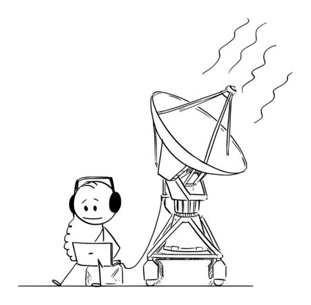 Vector cartoon stick figure drawing conceptual illustration of man or scientist watching and hearing alien space signal