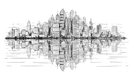 Vector artistic sketchy pen and ink drawing illustration of generic city high rise cityscape landscape with skyscraper buildings reflecting in water in front.