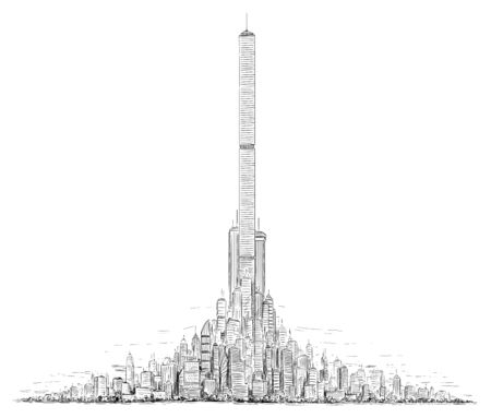 Vector künstlerische skizzenhafte Feder- und Tintenzeichnungsillustration der generischen Stadthochhaus-Stadtbildlandschaft mit hohen Wolkenkratzergebäuden in der Mitte.
