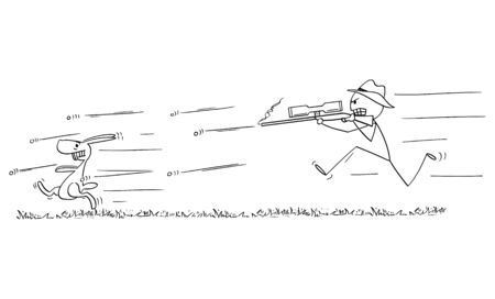 Vector cartoon stick figure drawing conceptual illustration of man with rifle or hunter running or chasing and shooting at rabbit or hare or jackrabbit.