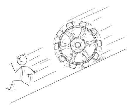 Vector cartoon stick figure drawing conceptual illustration of man or businessman running away downhill from big rolling cog wheel.